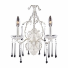 ELK Opulence Collection - 2 Light Wall Bracket Clear Crystal Antique White Frame EK-4000-2CL