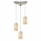 ELK Piedra 3-Light Genuine Stone Pendant in Satin Nickel EK-10147-3