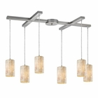 ELK Piedra 6-Light Genuine Stone Pendant in Satin Nickel EK-10147-6