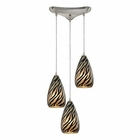 ELK Predator 3 Light Pendant in Satin Nickel EK-10445-3