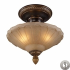 ELK Restoration 3-Light Semi Flush in Golden Bronze With Adapter Kit EK-08092-AGB-LA