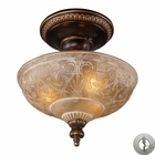 ELK Restoration 3-Light Semi Flush in Golden Bronze With Adapter Kit EK-08100-AGB-LA