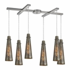 ELK Rury 6 Light Pendant in Satin Nickel EK-10247-6