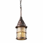 ELK Rustica 1-Light Outdoor Pendant in Antique Copper With Amber Scavo Glass EK-388-AC