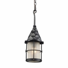 ELK Rustica 1-Light Outdoor Pendant in Matte Black With Scavo Glass EK-388-BK