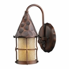 ELK Rustica 1-Light Outdoor Sconce in Antique Copper With Amber Scavo Glass EK-381-AC