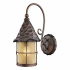 ELK Rustica 1-Light Outdoor Sconce in Antique Copper With Amber Scavo Glass EK-385-AC