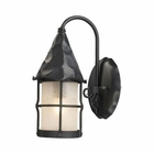 ELK Rustica 1-Light Outdoor Sconce in Matte Black With Scavo Glass EK-381-BK