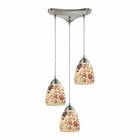 ELK Shells 3 Light Pendant in Satin Nickel EK-10412-3