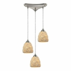 ELK Shells 3 Light Pendant in Satin Nickel EK-10414-3