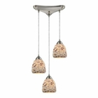 ELK Shells 3 Light Pendant in Satin Nickel EK-10415-3