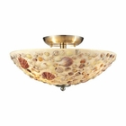 ELK Shells 3 Light Semi Flush in Satin Nickel EK-10411-3