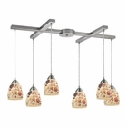 ELK Shells 6 Light Pendant in Satin Nickel EK-10412-6