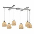 ELK Shells 6 Light Pendant in Satin Nickel EK-10414-6