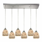 ELK Shells 6 Light Pendant in Satin Nickel EK-10415-6RC
