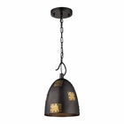 ELK Strasburg 1 Light Pendant in Weathered Iron/Antique Gold EK-14290-1