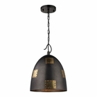 ELK Strasburg 1 Light Pendant in Weathered Iron/Antique Gold EK-14291-1