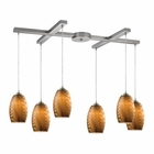 ELK Tidewaters 6 Light Pendant in Satin Nickel EK-31600-6
