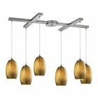 ELK Tidewaters 6 Light Pendant in Satin Nickel EK-31630-6