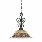 ELK Tiffany Buckingham 1-Light Pendant in Vintage Antique With Tiffany Style Glass EK-362-VA