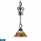 ELK Tiffany Buckingham 1-Light Pendant in Vintage Antique With Tiffany Style Glass - Led EK-369-VA-LED