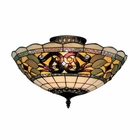 ELK Tiffany Buckingham 3-Light Semi Flush in Vintage Antique With Tiffany Style Glass EK-941-TB