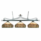ELK Tiffany Lighting 3 Light Billiard/Island in Tiffany Bronze W/T8 Shades EK-190-11-TB-T8