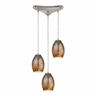 ELK Venture 3 Light Pendant in Satin Nickel EK-10256-3