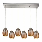 ELK Venture 6 Light Pendant in Satin Nickel EK-10256-6RC