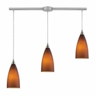 ELK Vesta 3-Light Linear Pendant in Tobacco in Satin Nickel EK-2582-3L