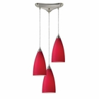 ELK Vesta 3-Light Pendant in Cardinal Red in Satin Nickel EK-2583-3