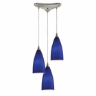 ELK Vesta 3-Light Pendant in Royal Blue in Satin Nickel EK-2581-3