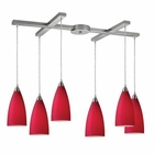ELK Vesta 6-Light Pendant in Cardinal Red in Satin Nickel EK-2583-6