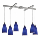 ELK Vesta 6-Light Pendant in Royal Blue in Satin Nickel EK-2581-6