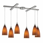ELK Vesta 6-Light Pendant in Tobacco in Satin Nickel EK-2582-6