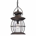 ELK Village Lantern Collection 1 Light Outdoor Pendant in Weathered Charcoal EK-47043-1