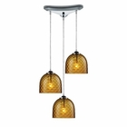 ELK Viva 3-Light Amber Pendant in Polished Chrome EK-31080-3AMB