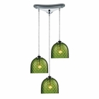 ELK Viva 3-Light Green Pendant in Polished Chrome EK-31080-3GRN
