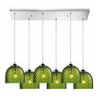 ELK Viva 6 Light Pendant in Satin Nickel EK-31080-6RC-GRN