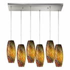 ELK Vortex 6 Light Pendant in Satin Nickel EK-10079-6RC-RV