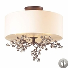 ELK Winterberry 3 Light Semi Flush in Antique Darkwood With Adapter Kit EK-20089-3-LA