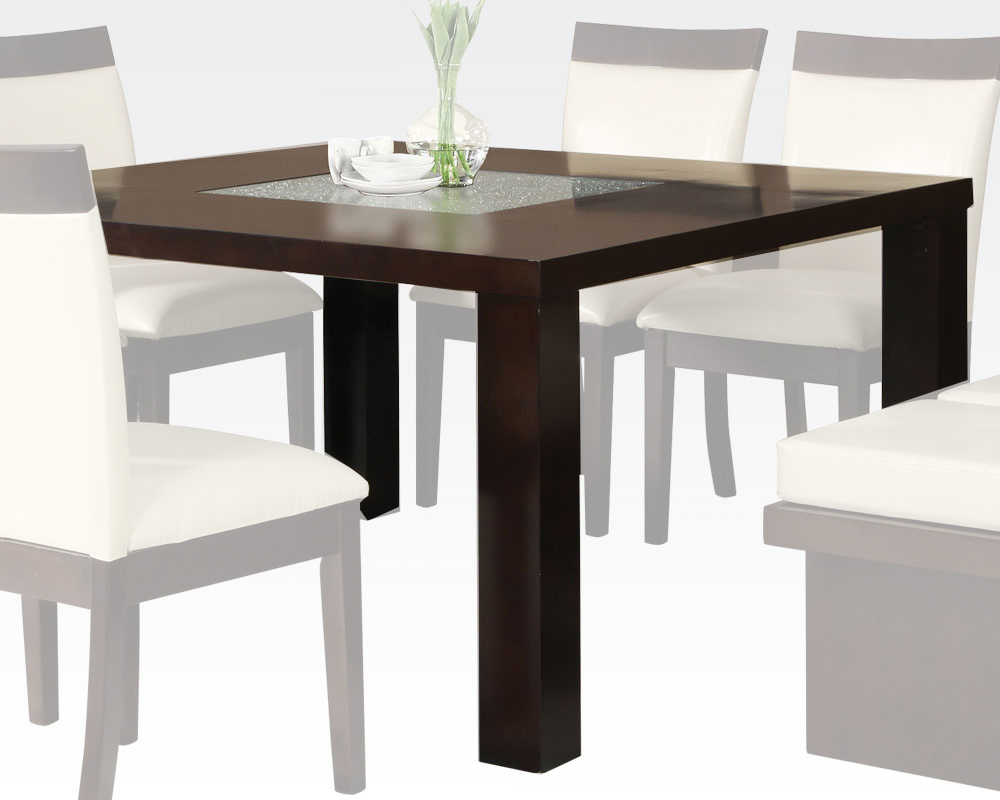 Espresso finish dining table keelin by acme furniture ac71035 for Dining table finish