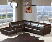 Espresso Full Leather Sectional Sofa Set 44LDMO