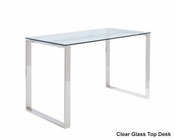 Euro Style Clear Glass Top Desk Diego EU-09811CLR