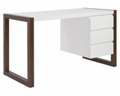Euro Style Desk in White/ Walnut Finish Manon EU-90192WHT