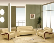 EuroDesign Almond Contemporary Leather Living Room Set GF992AL