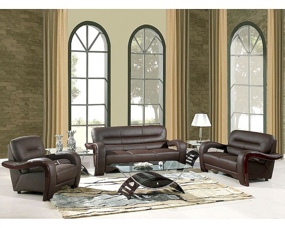 eurodesign brown contemporary leather living room set gf992bn. Black Bedroom Furniture Sets. Home Design Ideas