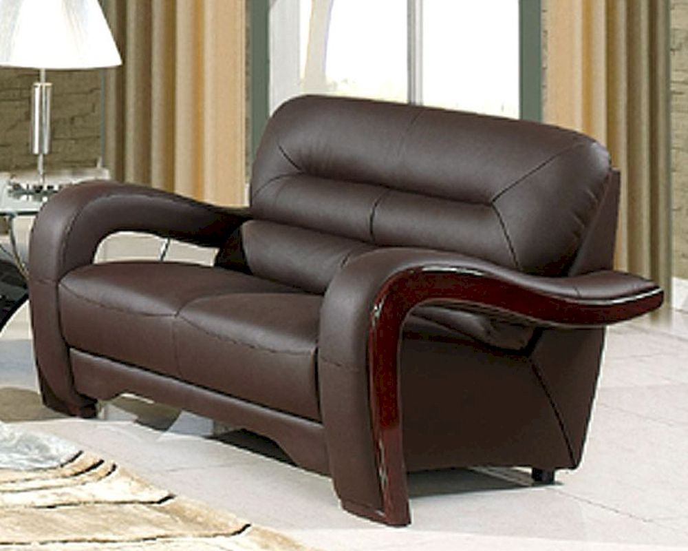 Brilliant Eurodesign Brown Contemporary Leather Loveseat Gf992Lbn Gmtry Best Dining Table And Chair Ideas Images Gmtryco