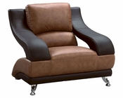 EuroDesign Leather Brown Two Tone Chair GF982CH