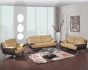 EuroDesign Leather Tan and Brown Living Room Set GFA159